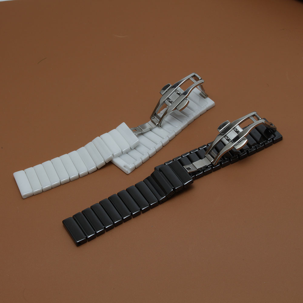 Ceramic watch strap bracelet watchband 20mm 22mm wristwatches band white black Butterfly buckle watch belt accessories polished<br>