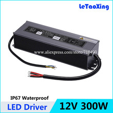 DC 12V 300W LED Driver Transformers Waterproof Power Supply Transformer, Power Adapter 12V 25A , AC 190-250V Outdoor Use IP67