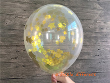 5pcs/lot 12inch Clear Gold PVC Star Confetti-Filled Balloon For Wedding Engagement Baby Shower Birthday Party Table Decoration(China)