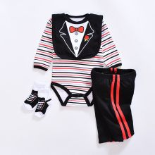 2017 baby Boy's girls Clothing Set  cotton Cartoon baby clothes Newborn Kids 4pcs suits infant rompers+pants+socks+Bib mix