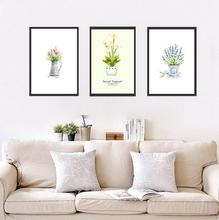 New Nordic modern Watercolor green Potted plants art Poster Oil Painting for Bar Hotel Coffee decor wall picture home decor