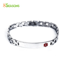 "8SEASONS 304 Stainless Steel Bracelets Silver Tone Red Medical Alert ID Caduceus 21cm(8 2/8"") long, 1 Piece(China)"