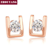 "ZHOUYANG ""H"" Lady Stud Earring Rose Gold Color Fashion Jewelry Made with AAA+ CZ Genuine Austrian Crystal Wholesale ZYE216(China)"
