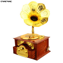 ONNPNNQ 1x Classical Retro Loudspeaker Phonograph Music Box Furniture Decoration Brown(China)