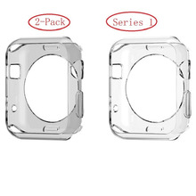 Apple Watch Series 1 Case , Sfmn 2 Pack (Clear+Grey)Soft Clear TPU Cover Case for Apple Watch 1 42MM (2pack-42MM )