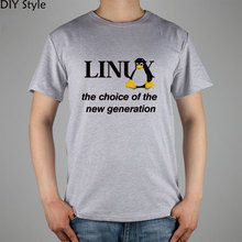 LINUX T-shirt Top Lycra Cotton Men Little Penguin T shirt New Design High Quality Digital Inkjet Printing