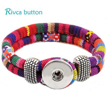 Rivca Jewelry Bohemian Personalized Braided Charm Leather Bracelet For Woman 18mm Snap Button Bracelets Bangles Man P00010(China)