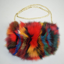 MS.MinShu Brand Real Fox Fur Hand Muff Bag Winter Hand Warmer Real Fur Muff Fashion Woman Pocket Handmuff With Chain(China)