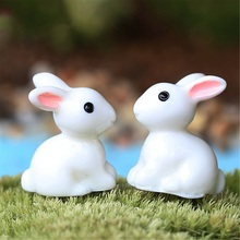 2pcs/set 2016 New Hot Mini Rabbit Ornament Miniature Figurine Plant Pot Fairy Garden Decor Toys figurines for garden decoration