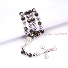 Fashion Jewelry Necklaces For Men/Women Trendy Stainless Steel Saint Rosary Cross Long Necklace Wholesale Free Shipping(China)