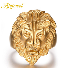 Ajojewel Brand Trendy Carving Lion Jewelry Accessories Unique Animal Head Stainless Steel Gold-color Rings For Men
