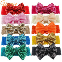 Solid Lace Elastic Hair Bands For Girls 2017 Big Sequin Bow Lace Headband Hair Bows Glitter Headbands Hairband Hair Accessories