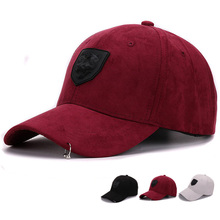 Fashion Suede baseball cap with plastic 3D lion head embroidered strap back streets cap and hat for men and women