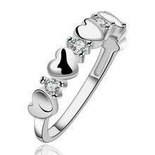 Silver plated rings crystal Rings influx of people Heart-shaped Zircon ring creative minimalist fashion sweet ring R600