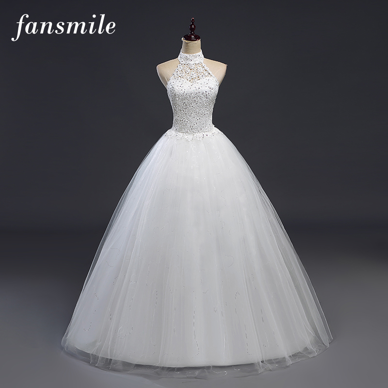 Fansmile Cheap Backless Vintage Lace Ball Wedding Dresses 2017 Bridal Dress Real Photo Wedding Gowns Robes de Mariee