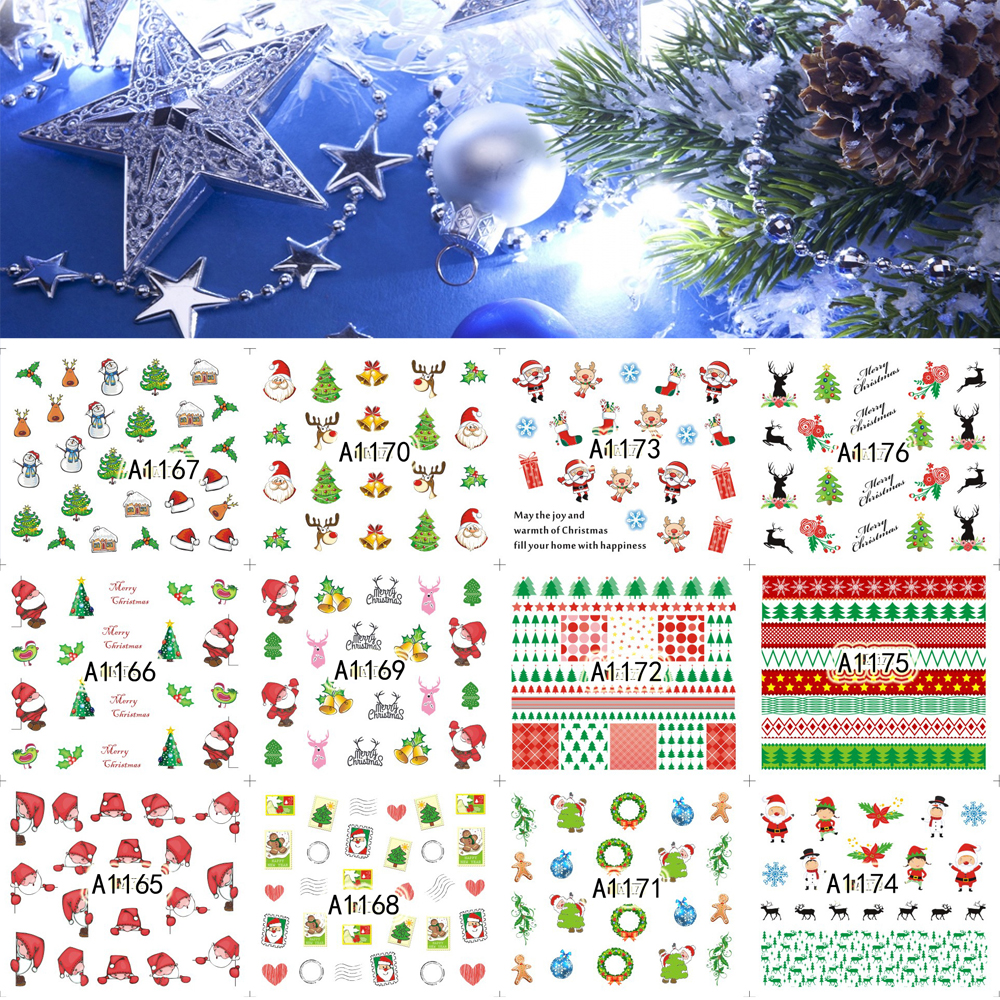 12 Sheets XMAS Nail Art Water Transfer Sticker Decals Merry Christmas Santa Tree Stickers Wrap Tip Decoration A1165-1176<br><br>Aliexpress