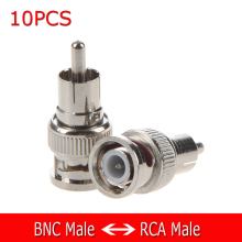 10x BNC Male Plug to RCA Male Plug RG59 Coax Cable Video Adapter Connector(China)