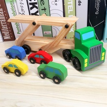 Baby Wooden Truck Toy Children Early Educational Designer Vehicles Toys Double Decker Car Carrier and 4 Cars Classic Model Toys(China)