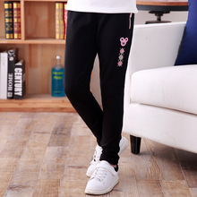 Children's trousers 2017 new sports pants casual stretch Slim feet girls pants 6-18 years baby girl clothes(China)