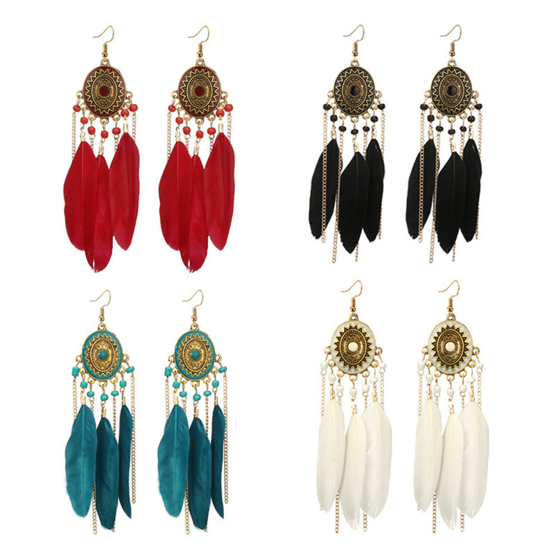 2018 Trendry Earrings for Women Vintage Women Bohemian Fashion Weave Tassel Earrings Long Drop Earrings Jewelry Brincos J05#N (10)