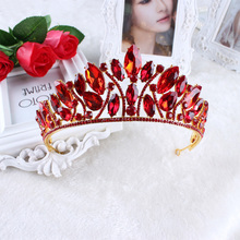 Hot European design royal crown queen crown red  ornaments crown high-end fashion bridal headdress crown beautiful woman