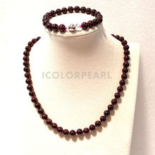 High quality natural round 8mm red garnet jewelry set with pop silver plated magnet clasps