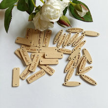 "Sewing Accessories 40Pcs ""hand made"" Tag Brand Wood Label Wooden Buttons For Sewing DIY Decorative Craft Scrapbooking(China)"
