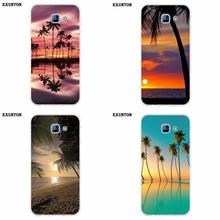 Summer Beach Scene At Sunset On The Sea And Palm Tree For Galaxy Alpha Core Prime Note 2 3 4 5 S3 S4 S5 S6 S7 S8 mini edge Plus(China)