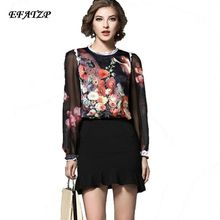 XXXL Women's Vintage Long Sleeves Angel and Floral Print Lace Border Blouses Luxury Brands Designer Silk Shirt XL TOP(China)