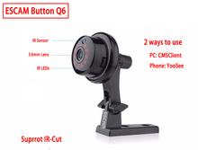 ESCAM Q6 Button Mini Wireless Camera Wifi Two-way voice 720P Indoor IR-CUT Night Vision CCTV Home Security IP Camera Wi-fi(China)