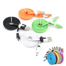 1M/2M/3M Universal Android Noodle Cable Micro USB Data Sync Charger Wire for Samsung HTC LG HUAWEI XIAOMI Android Smart Phone