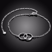 Crystal Double Circle Anklets Feet wear jewelry girls gifts 925 sterling silver safe Long link chains gift bags free wholesale