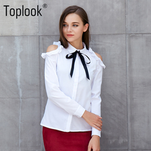 Toplook White Off Shoulder Women's Blouses Tops 2017 New Bow Butterfly Long Sleeve Shirts Turn-down Collar Sexy Blouse(China)