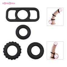 Buy Silicone Cock Rings Male Delayed Ejaculation Erection Chastity Cage Penis Ring Sex Toys Men Masturbation Sex Shop 4 Pcs/set