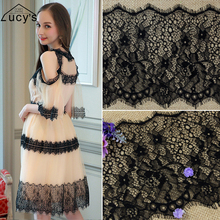 17x300CM/piece lovely girls dress lace trims border trimming lace off white and black in stock mix colors available(China)