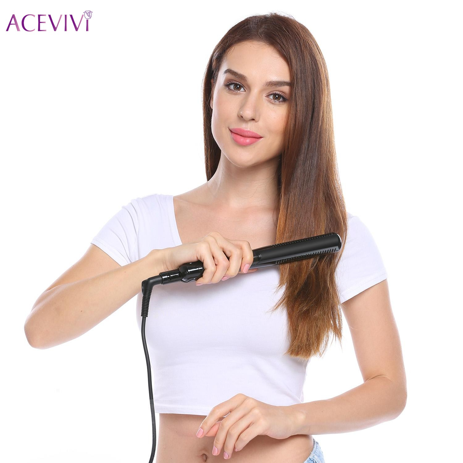 ACEVIVI MCH Heating Straightening Hair Irons Automatic Straight Hair Temperature Display Electric Fast Hair Straightener Tools<br>