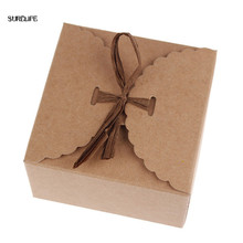 36pcs/set Retro Mini Kraft Paper Box DIY Wedding Gift Favor Boxes Party Candy Box Small Single Cake Packaging with Ribbon(China)