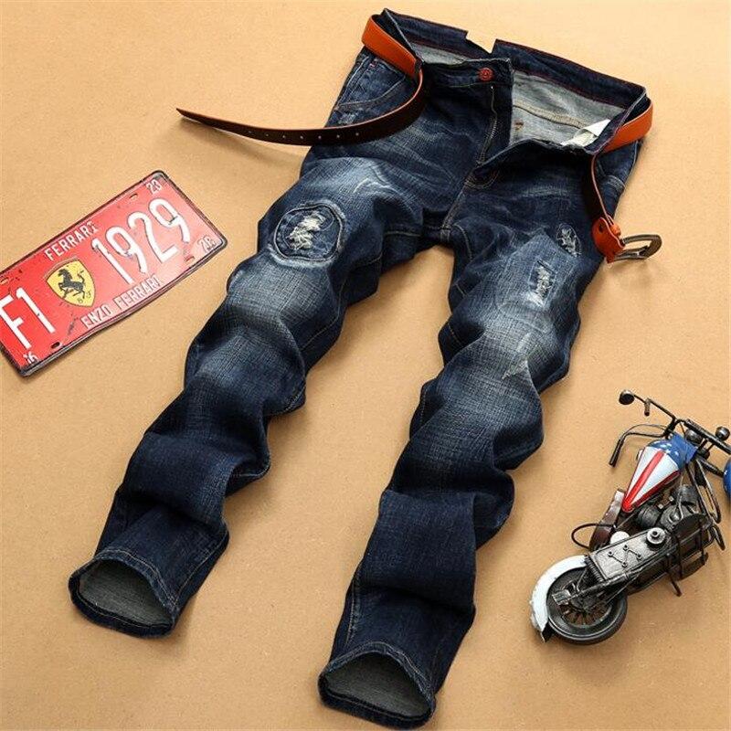 2017 new Mens Personality Patchwork Jeans pants men New Night Club Hip-hop Jeans Slim Fit Embroidery Blue Denim jeansÎäåæäà è àêñåññóàðû<br><br>
