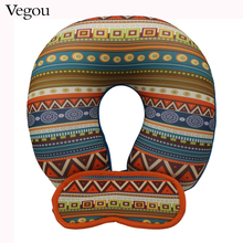 Vegou Geometric Patterns U Shaped Travel Eye Massage Pillow Neck Car Travel Cushion Christmas Gift Foam Pillows For Body rest(China)