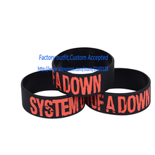 "SYSTEM OF A DOWN Silicone 1"" Wide Debossed Filled in Colour Wristband Bracelet(China)"