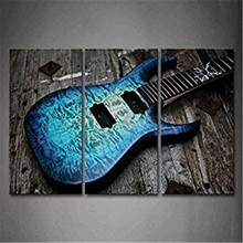 3 Picture Combination Guitar In Blue And Waves Looks Beautiful Wall Art Painting On Canvas Music Pictures For Home Decor Gift
