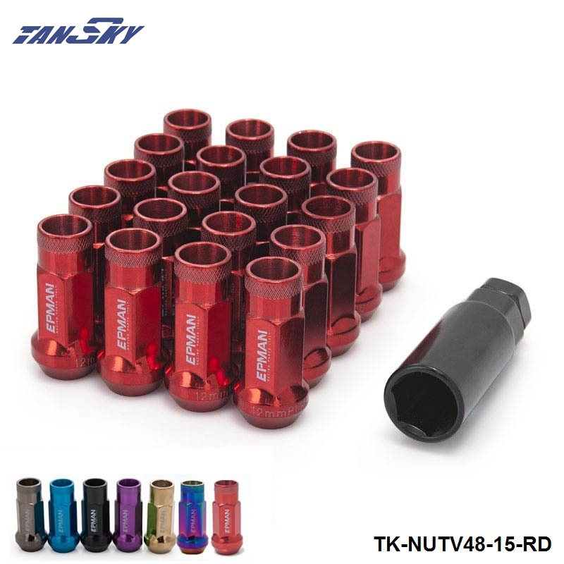 Racing RED 48MM Steel Open Exhtended Wheel Acorn Rim Lug Nuts Set 12*1.5 Tuner 20Pcs With Key TK-NUTV48-15-RD
