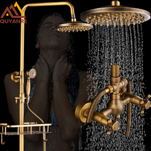 Antique Brass Bathroom Retro Rainfall Shower Set Faucet With Commodity Shelf And Hangers  Mixer Tap Dual Handles Wall Mounted
