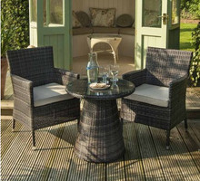 2017 Outdoor Lounge Furniture 2 Seat Rattan Bistro Set Plastic Chairs And Table(China)