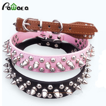 Durable Pet Basic collar Pu Leather Adjustable Punk Rivet Spiked Studded dog Collar BullDog Necklace pet accessories S M L Size(China)