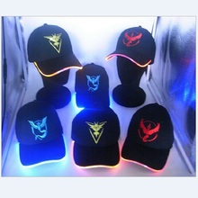 New LED Light Luminescence Cap 2016 Hot Design Pokemon Go Team Valor Team Instinct Yellow Blue Red Hat For Hip-hop Baseball
