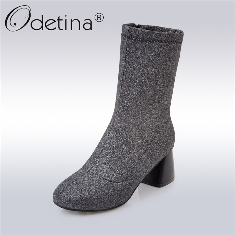 Odetina 2017 Fashion Elastic Ankle Sock Boots Side Zipper Women Glitter Boots Bling Square High Heels Gold Silver Winter Shoes<br>