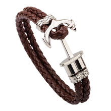 Famous Brand Anchor Leather Jewelry with Silver Plated Anchor Shaped Charm Double Layer Leather Bracelet Bangles for Men Gift