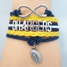 1pc/lot infinity love CHARGERS bracelets fashion chargers team souvenir charm love boys and girls jewelry