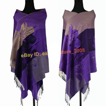 Free Shipping!!!Hot Sale Elegant Women's Lily Flower 100% Pashmina Shawl Wraps Scarf SH-002(China)